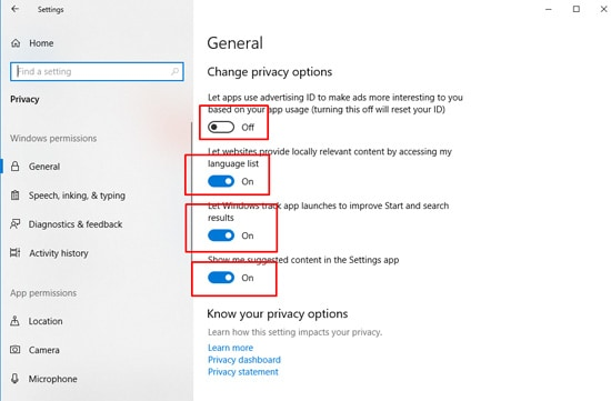 Change Windows 10 Privacy Settings