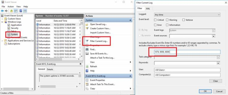 Check Shut Down Events In Event Viewer