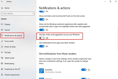 Turn Off Windows 10 Tips