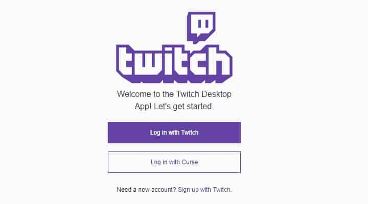 Sign up with Twitch